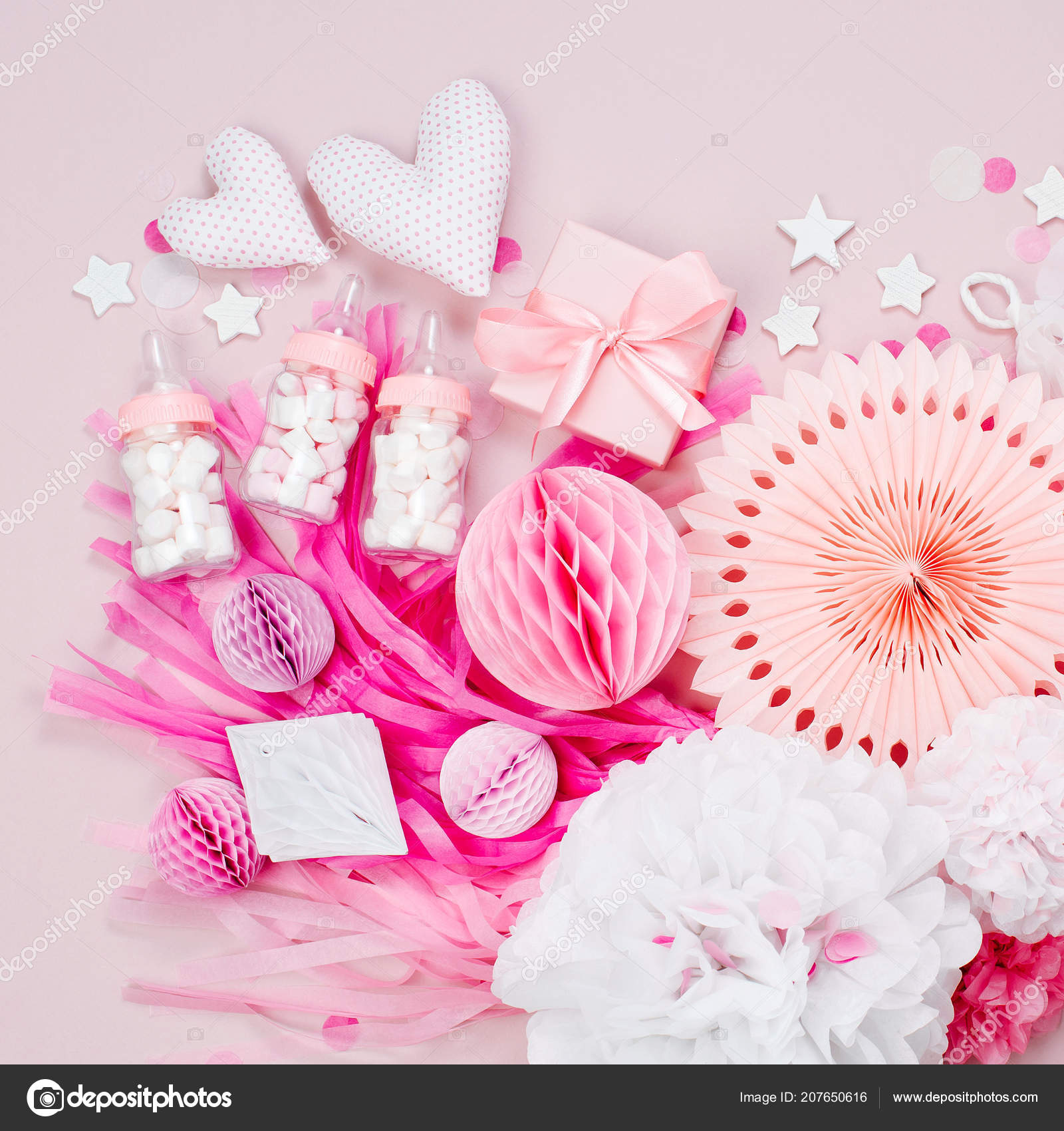 Pink White Paper Decorations Baby Shower Party Girl — Stock Photo ...