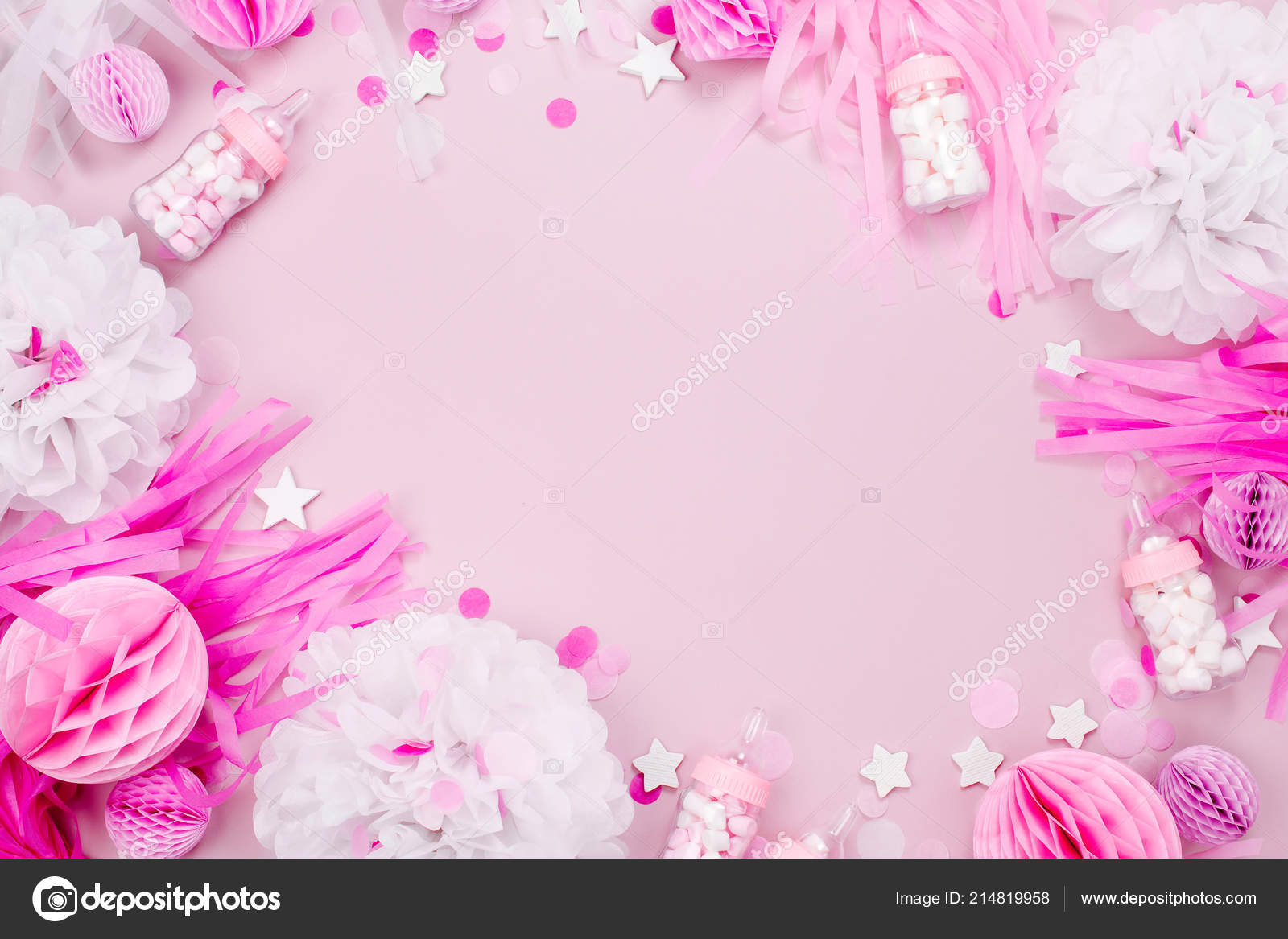 Baby Shower Party Decorations Pastel Pink Background Stock Photo