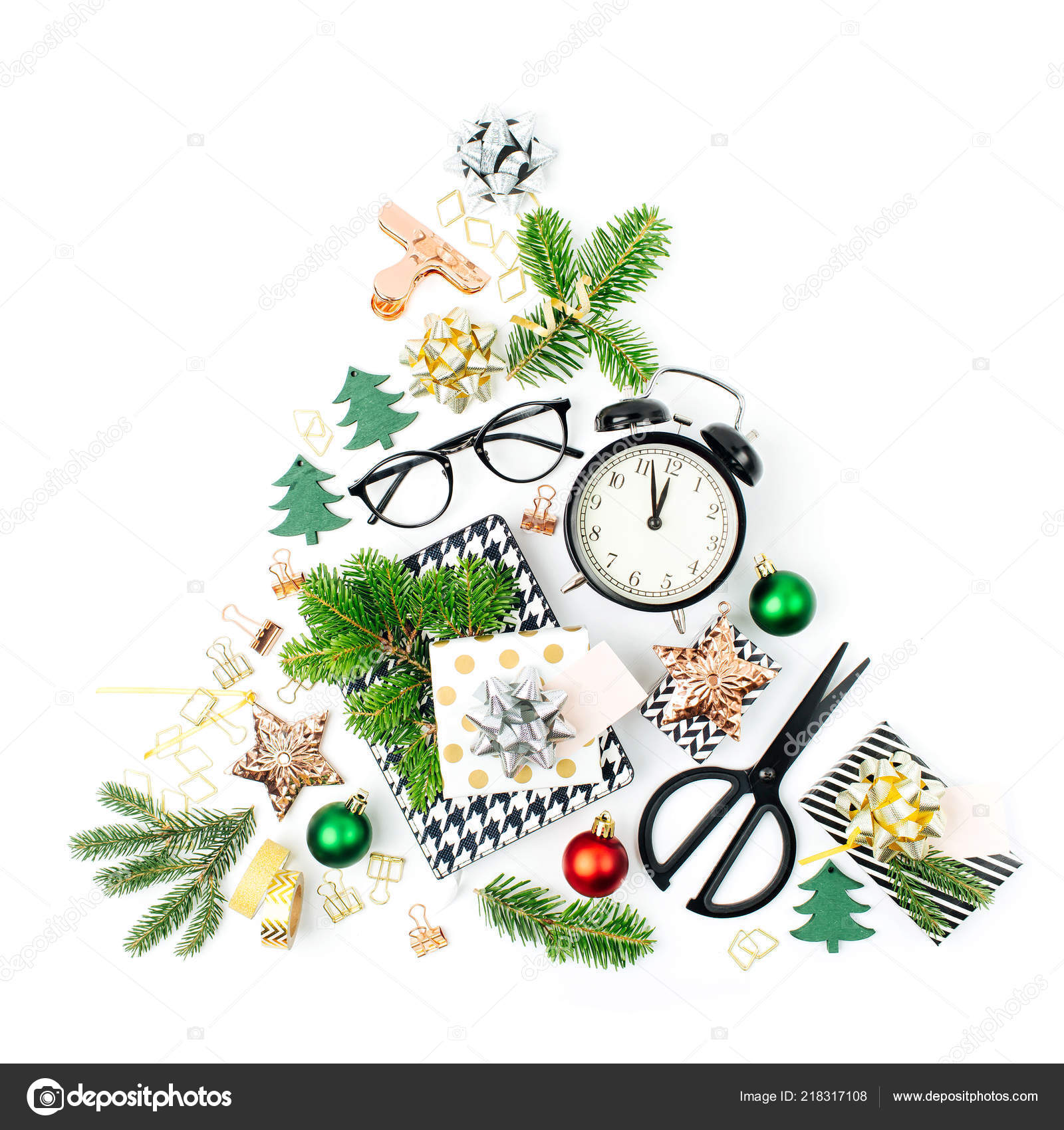 Christmas Tree Made Winter Decorations Stationery Alarm Clock Gifts