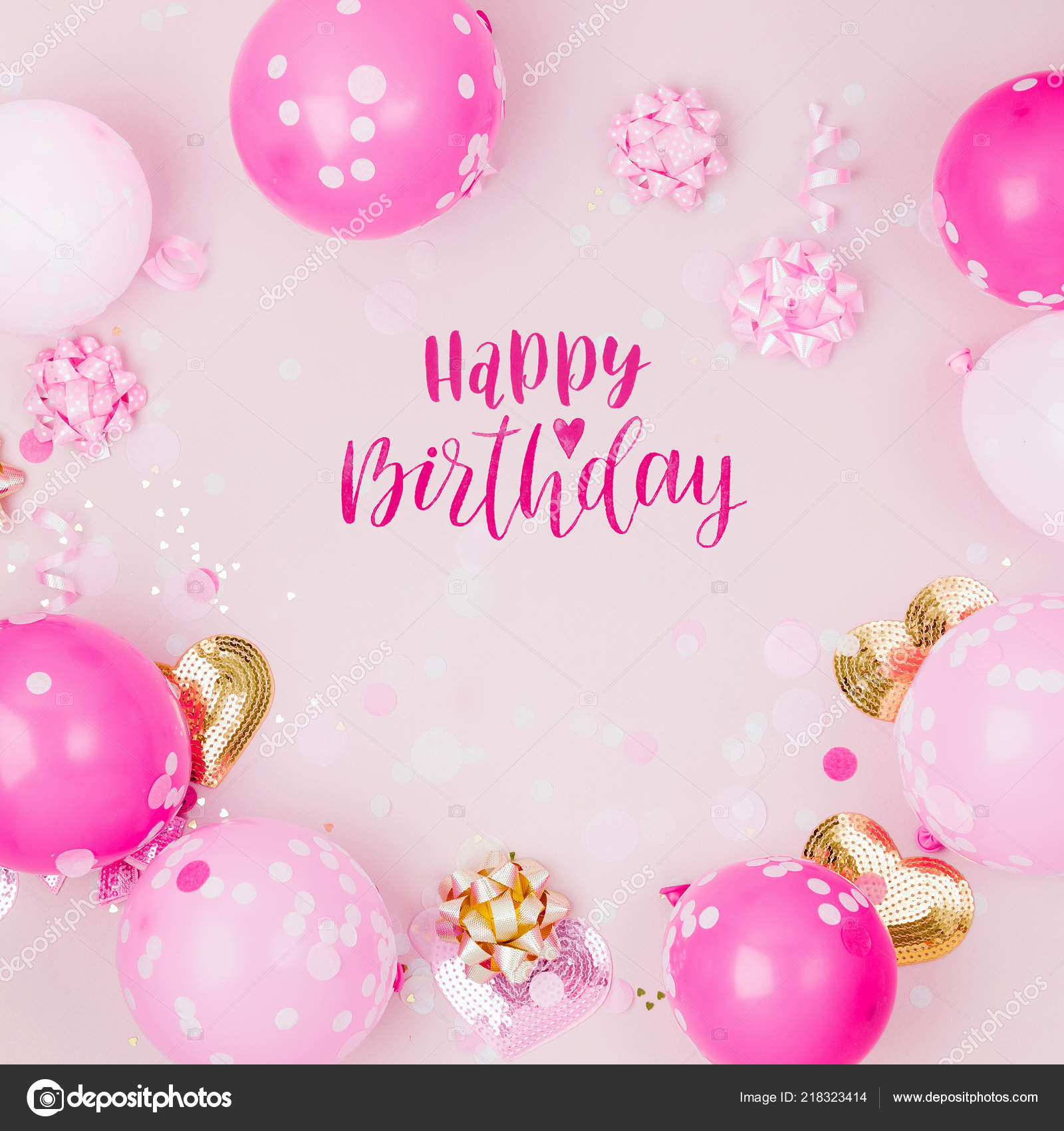 Pink Balloons Decorations Happy Birthday Lettering Stock Photo