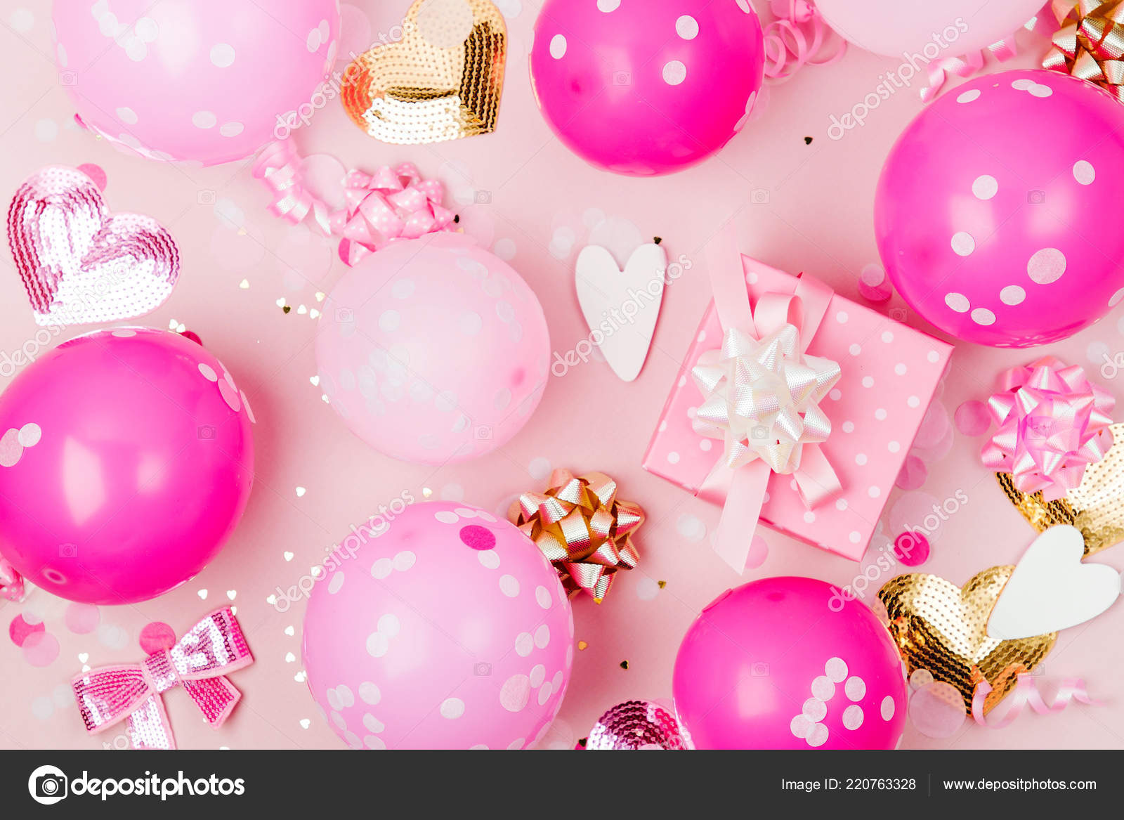 Pink Balloons Gift Box Decorations Pastel Background — Stock Photo