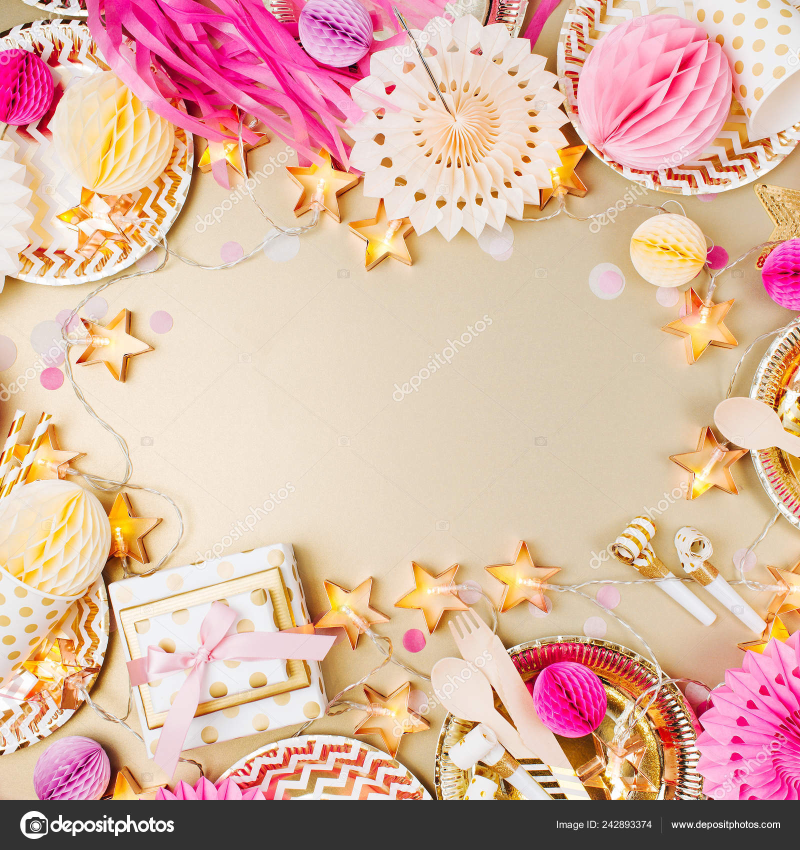 Birthday Party Background Gold Pink Color Flat Lay Top View Stock Photo Image By C Igishevamaria 242893374