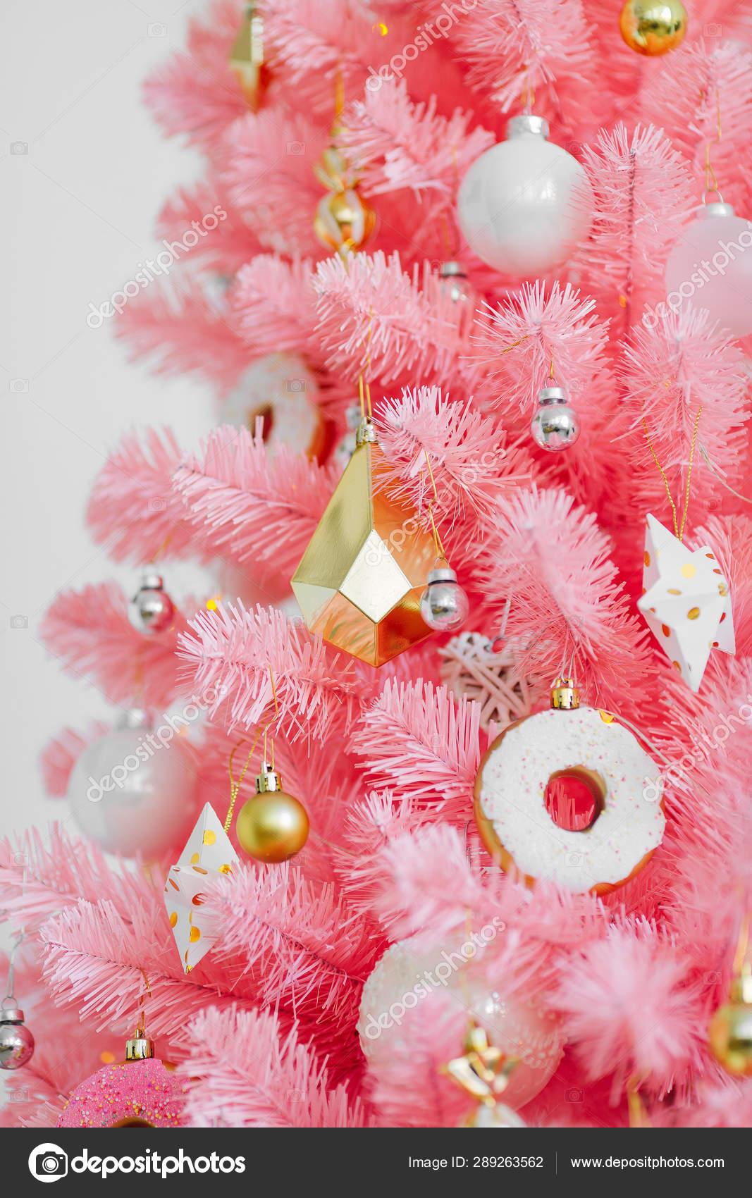 Pink Christmas Tree Christmas Decorations White Gold Color Stock Photo Image By C Igishevamaria 289263562
