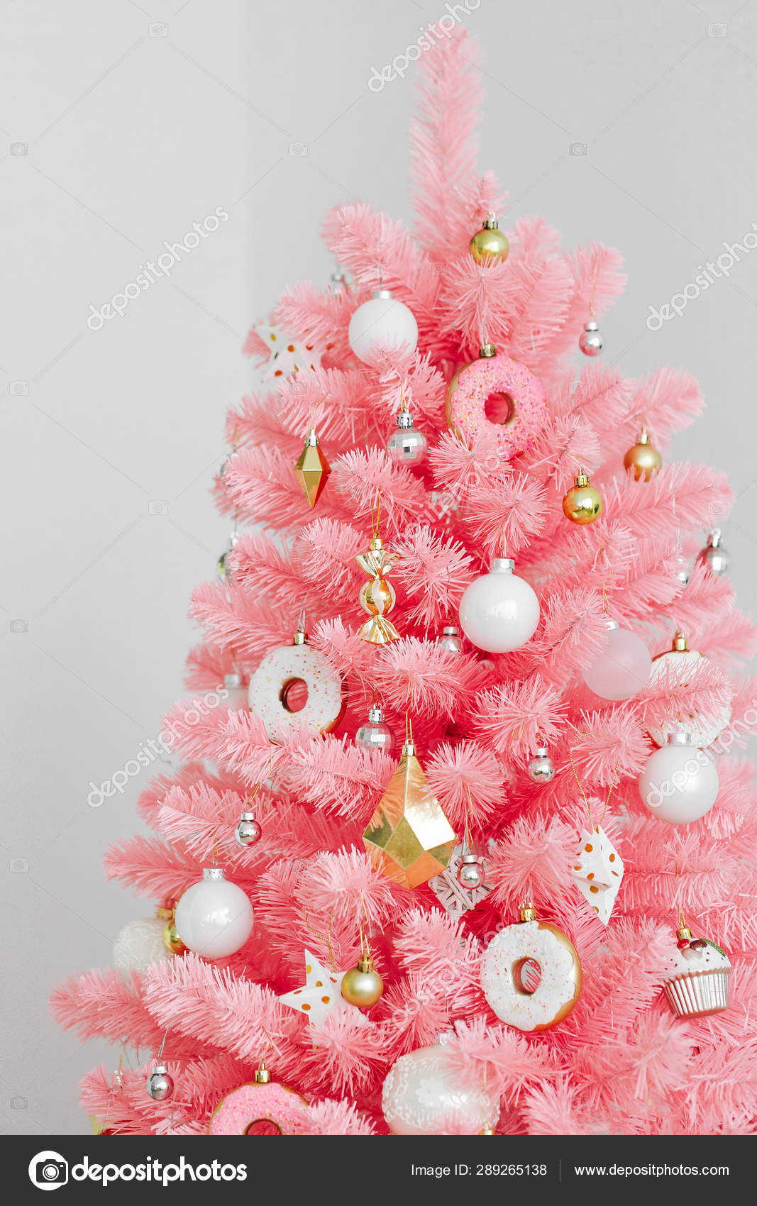 Pink Christmas Tree Christmas Decorations White Gold Color Stock Photo Image By C Igishevamaria 289265138