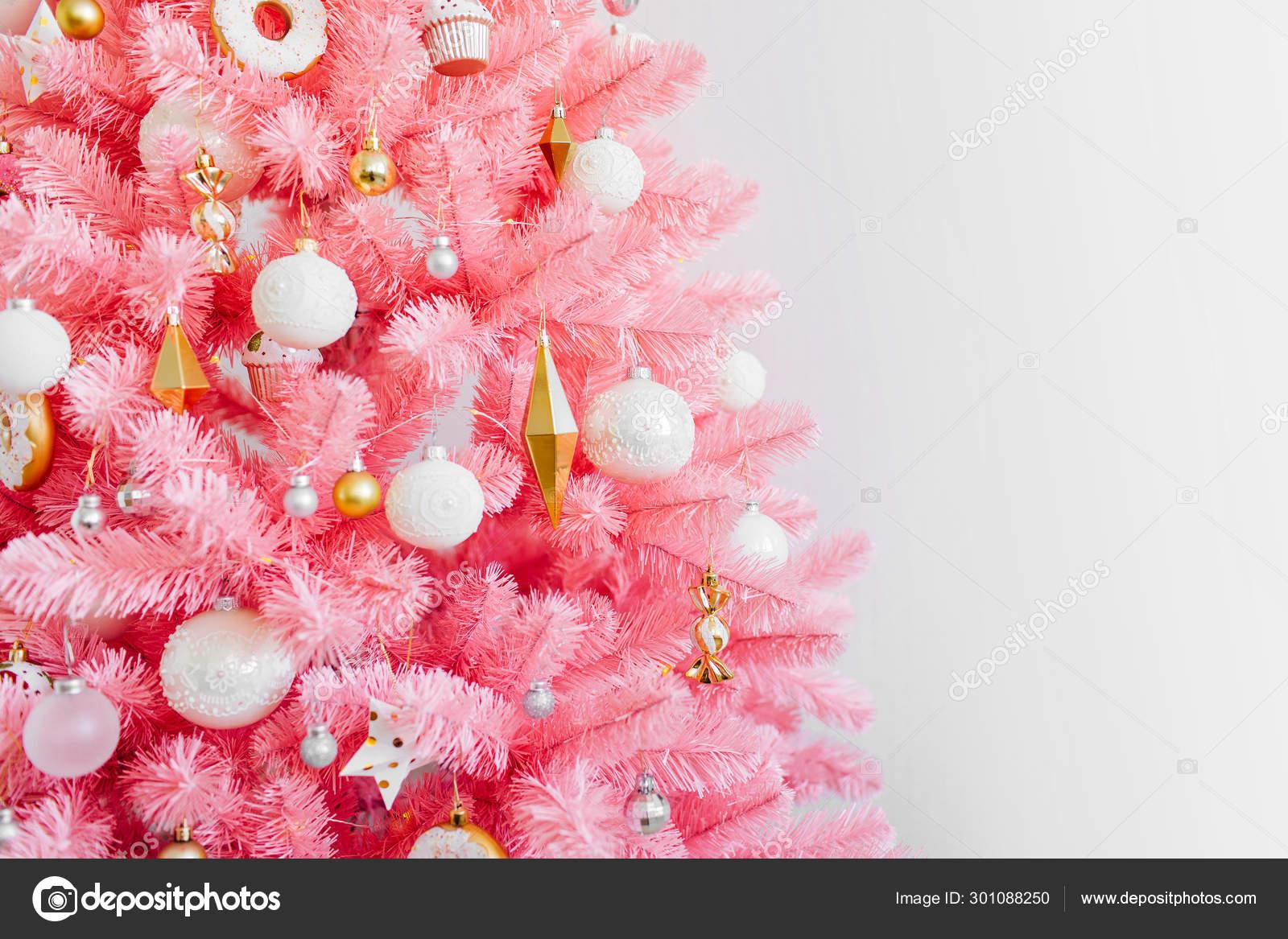 Pink Christmas Tree Christmas Decorations White Gold Color Christmas Background Stock Photo Image By C Igishevamaria 301088250