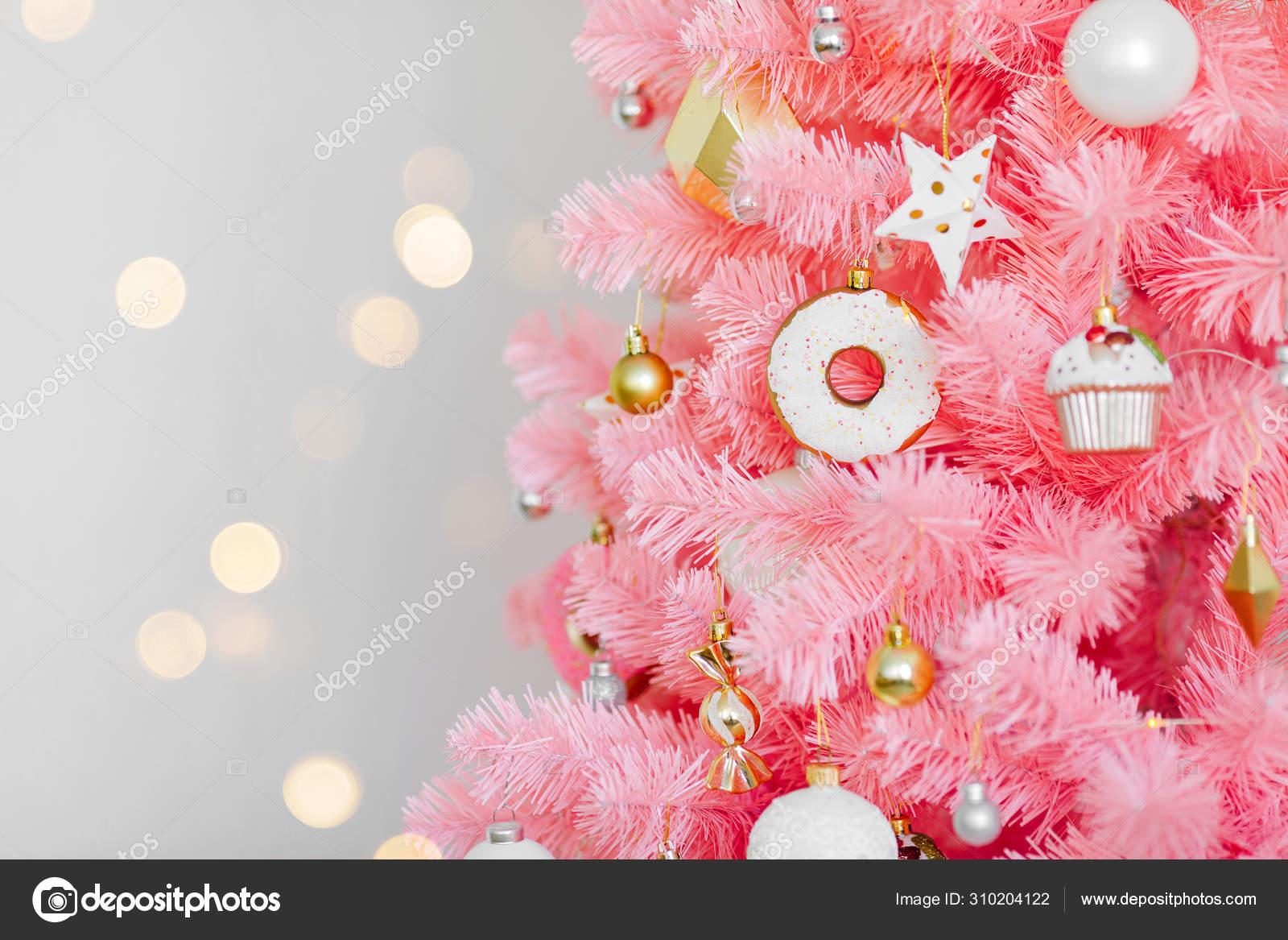 Pink Christmas Tree Christmas Decorations White Gold Color Christmas Background Stock Photo Image By C Igishevamaria 310204122