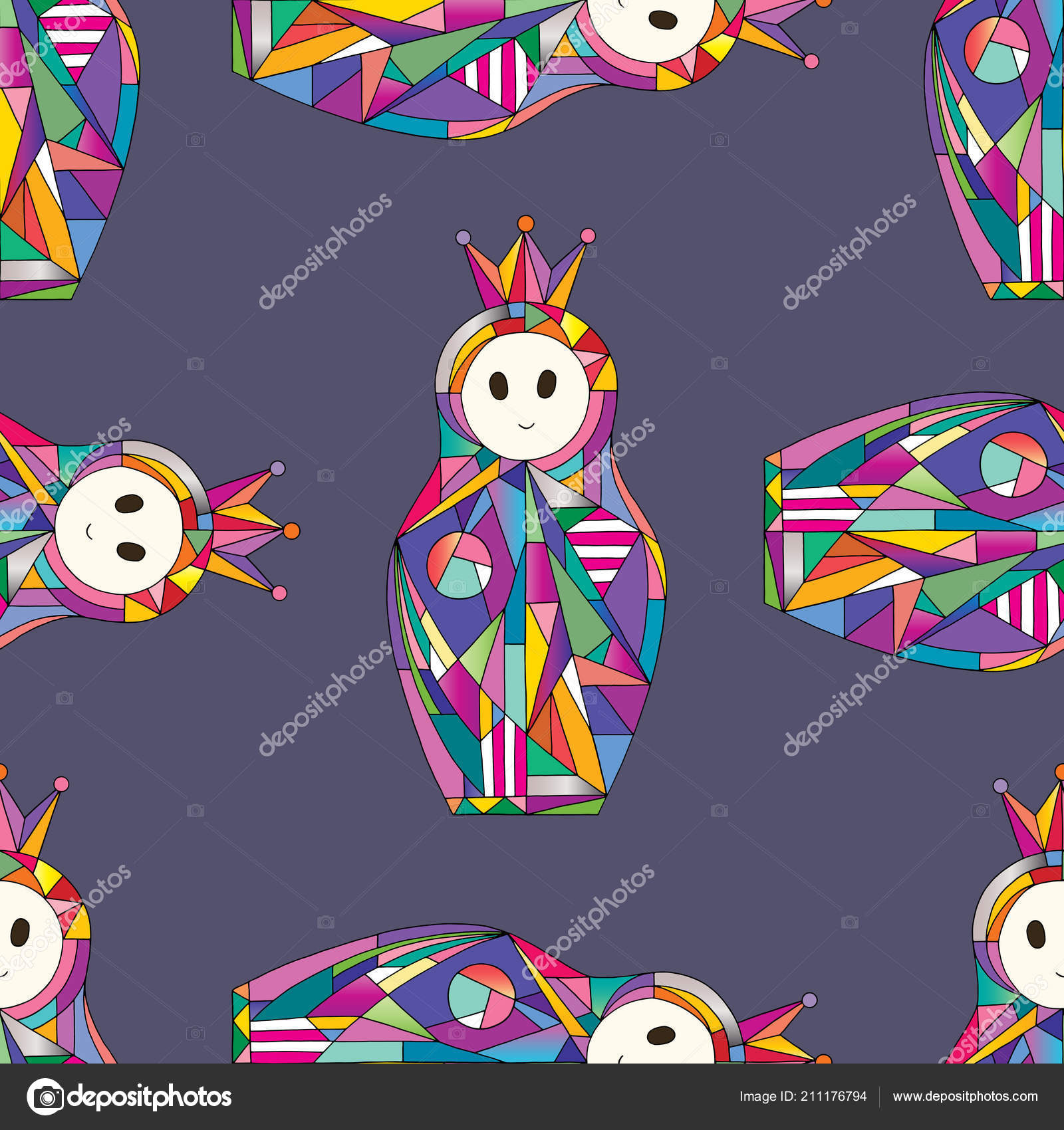 Hand Drawn Abstract Girls Seamless Pattern Nesting Doll Characters Texture For Surface Design Textile