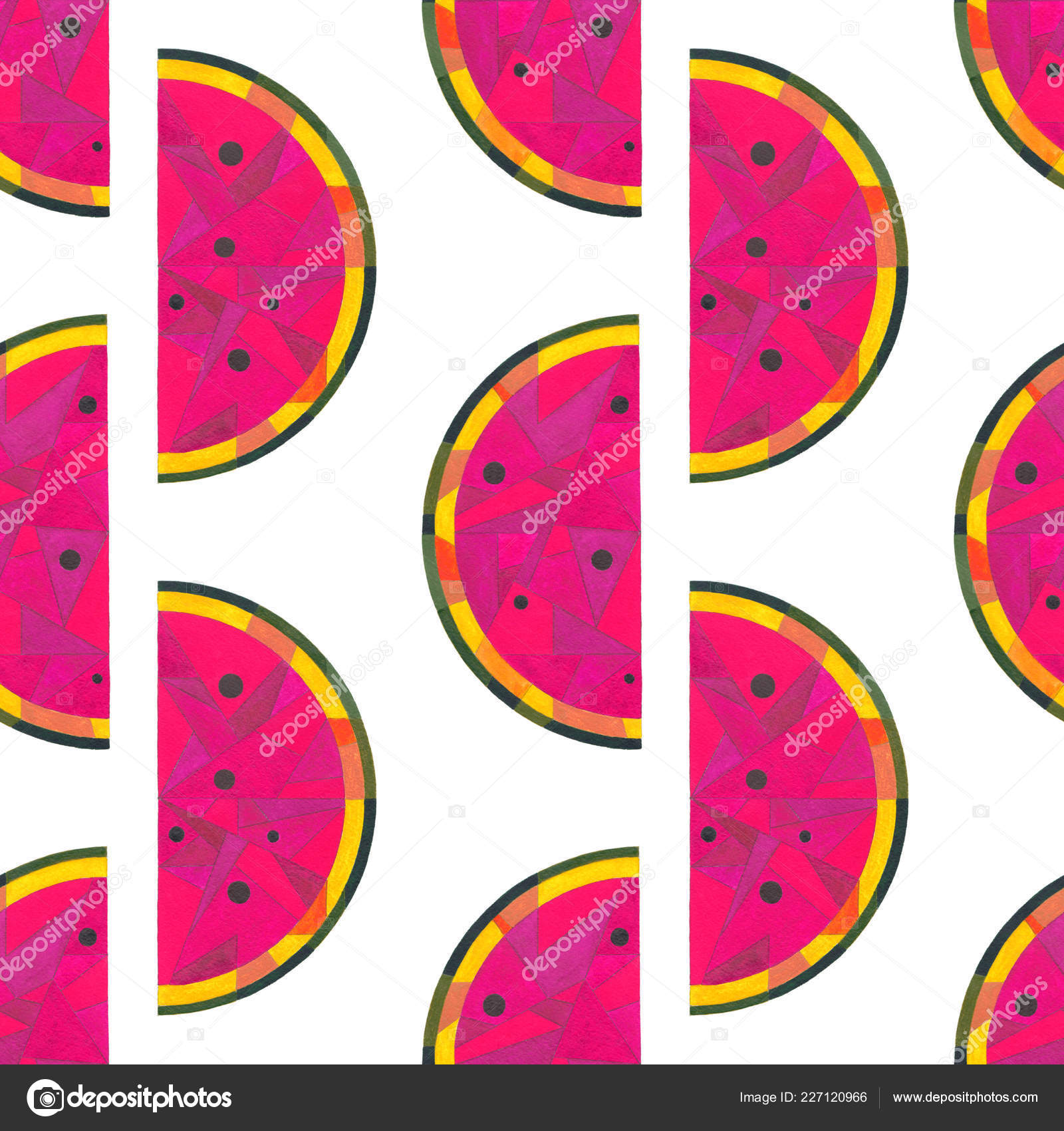 Watercolor Watermelon Seamless Pattern Hand Painted Abstract