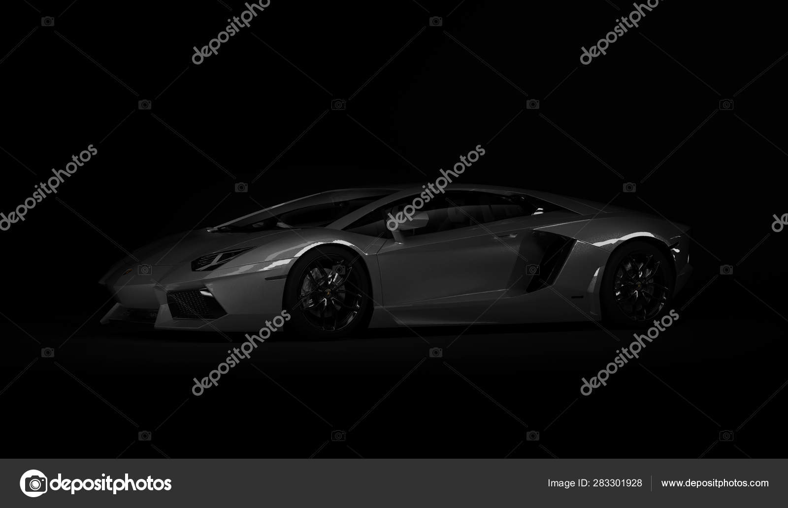 Almaty Kazakhstan Juli 08 Lamborghini Aventador Luxury Stylish Sport Car On Dark Black Background 3d Render Stock Editorial Photo C Medvedsky Kz 283301928
