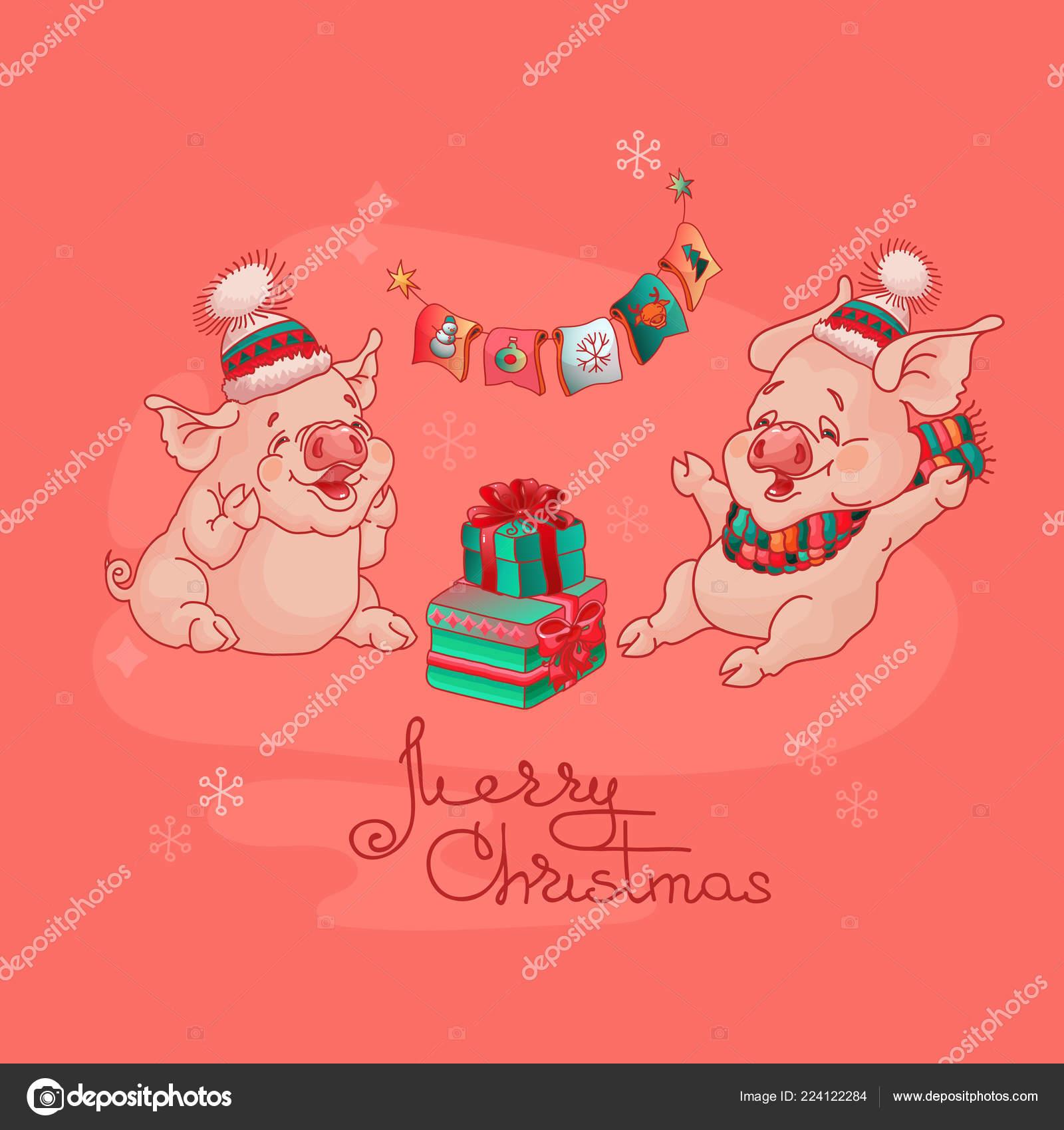 Encuentra Feliz Dos Cerdos Sombrero Lindos Tarjeta Alegres Navidad TuFK31cJl