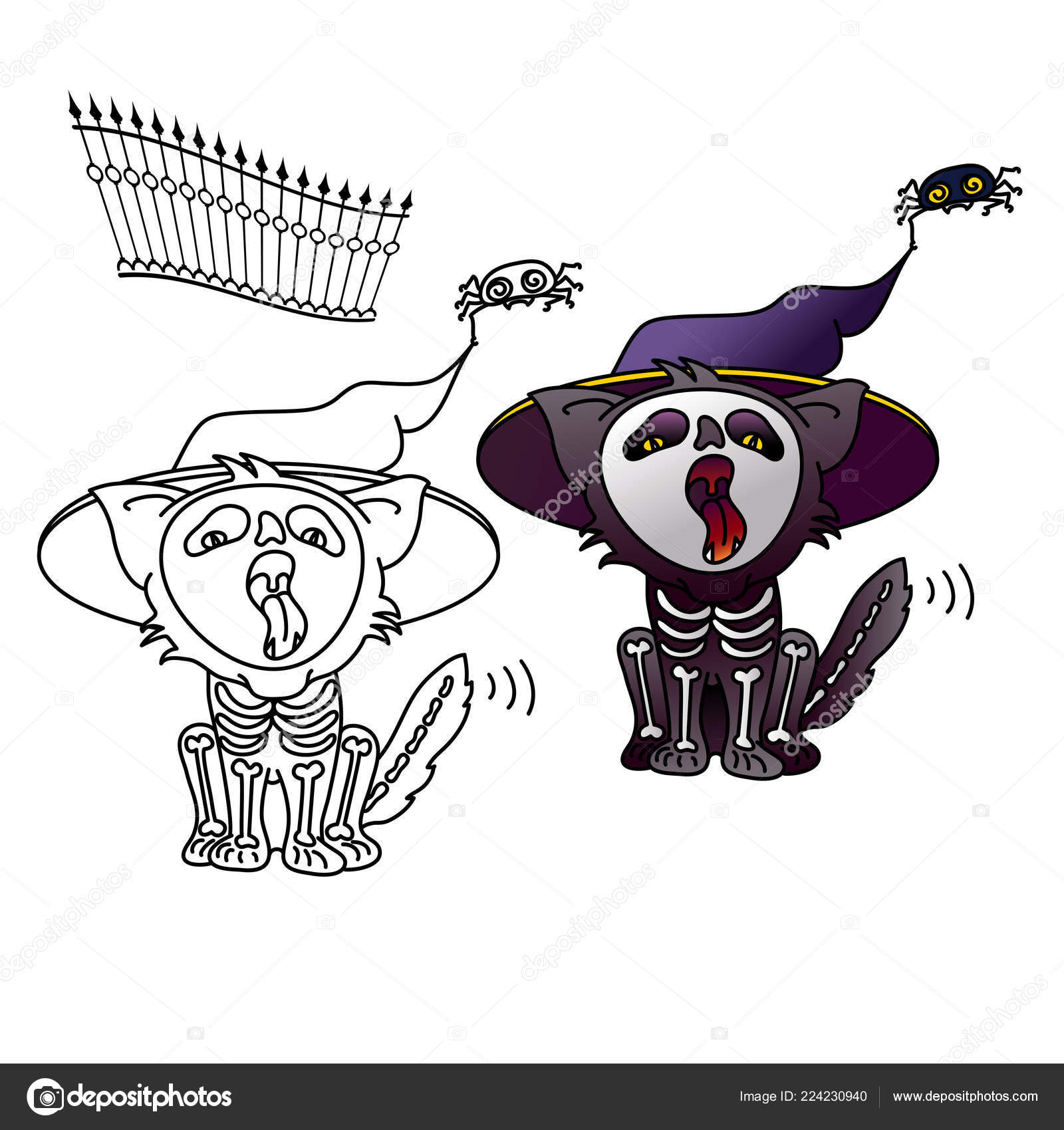 3d4b6aa4 Cartoon Black cat sitting and meowing. Halloween vector illustration of cat  in hat and suit of a skeleton. Two cute cats set for Halloween design.