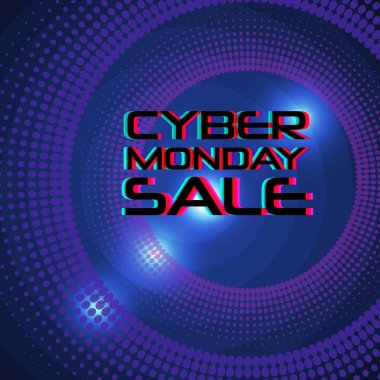 Cyber Monday Sale vector banner template. Blue shining background and text with glitch effect. Discount sale concept. Modern typography.