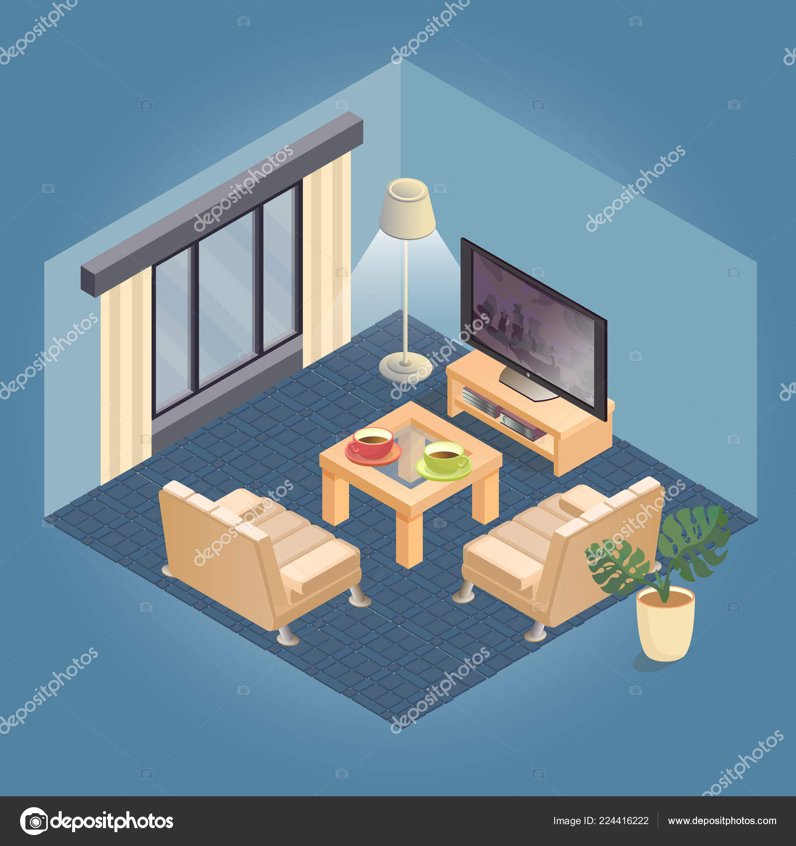 Cozy Living Room Vector Illustration: Fragment Interior Detailed Isometric Furniture Set Cozy