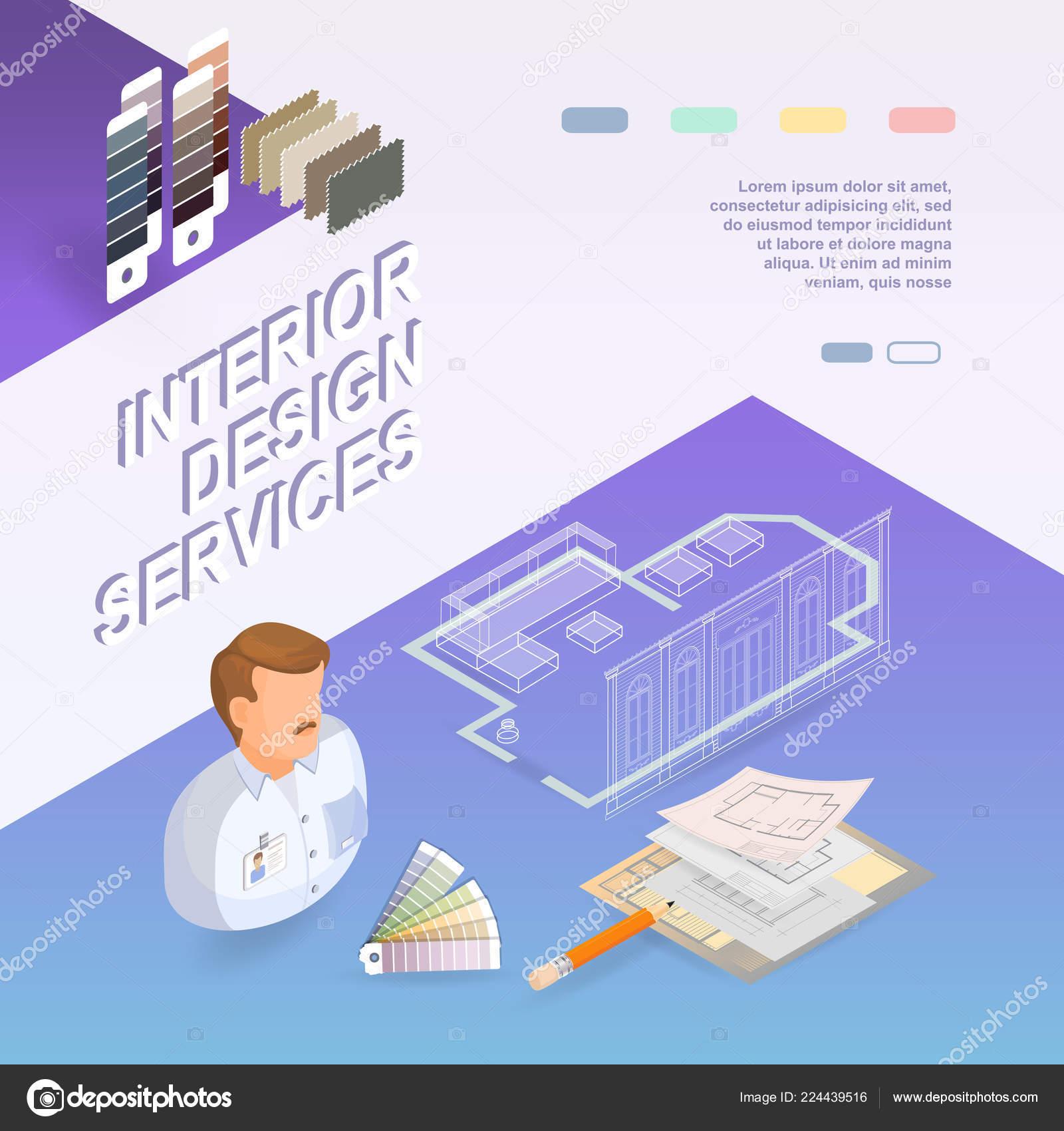Interior Design Services Isometric Project Repairs Concept Designer Samples  Palettes U2014 Stock Vector