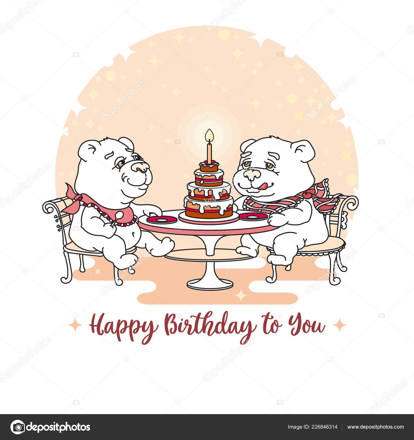 Joyeux Anniversaire Deux Hand Drawn Blanc Mignon Nounours Manger