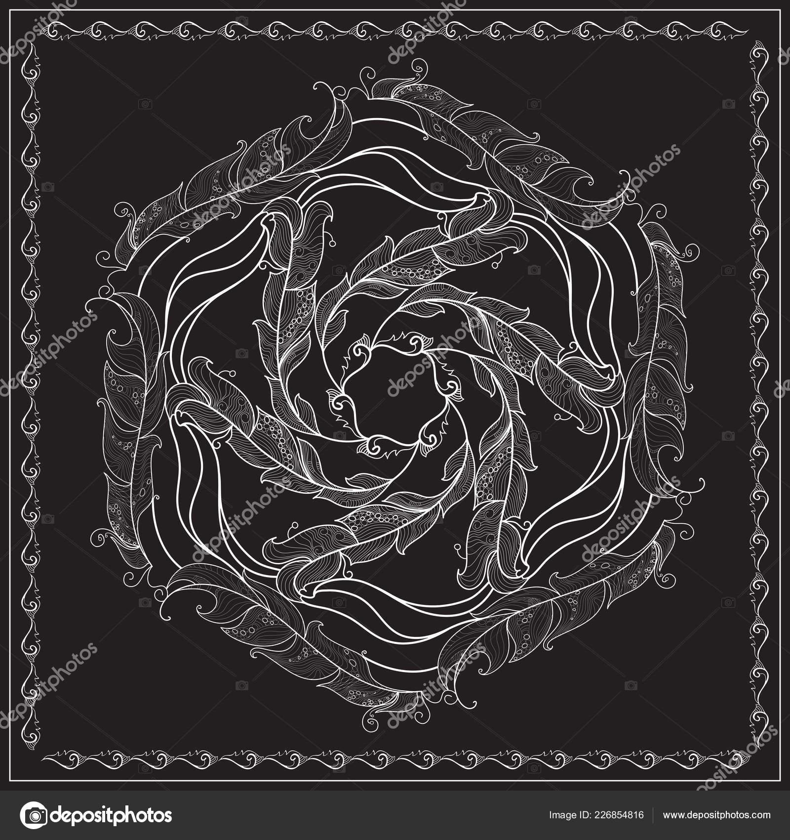Preto Branco Lenço Quadrado Padrão Desenho Para Imprimir