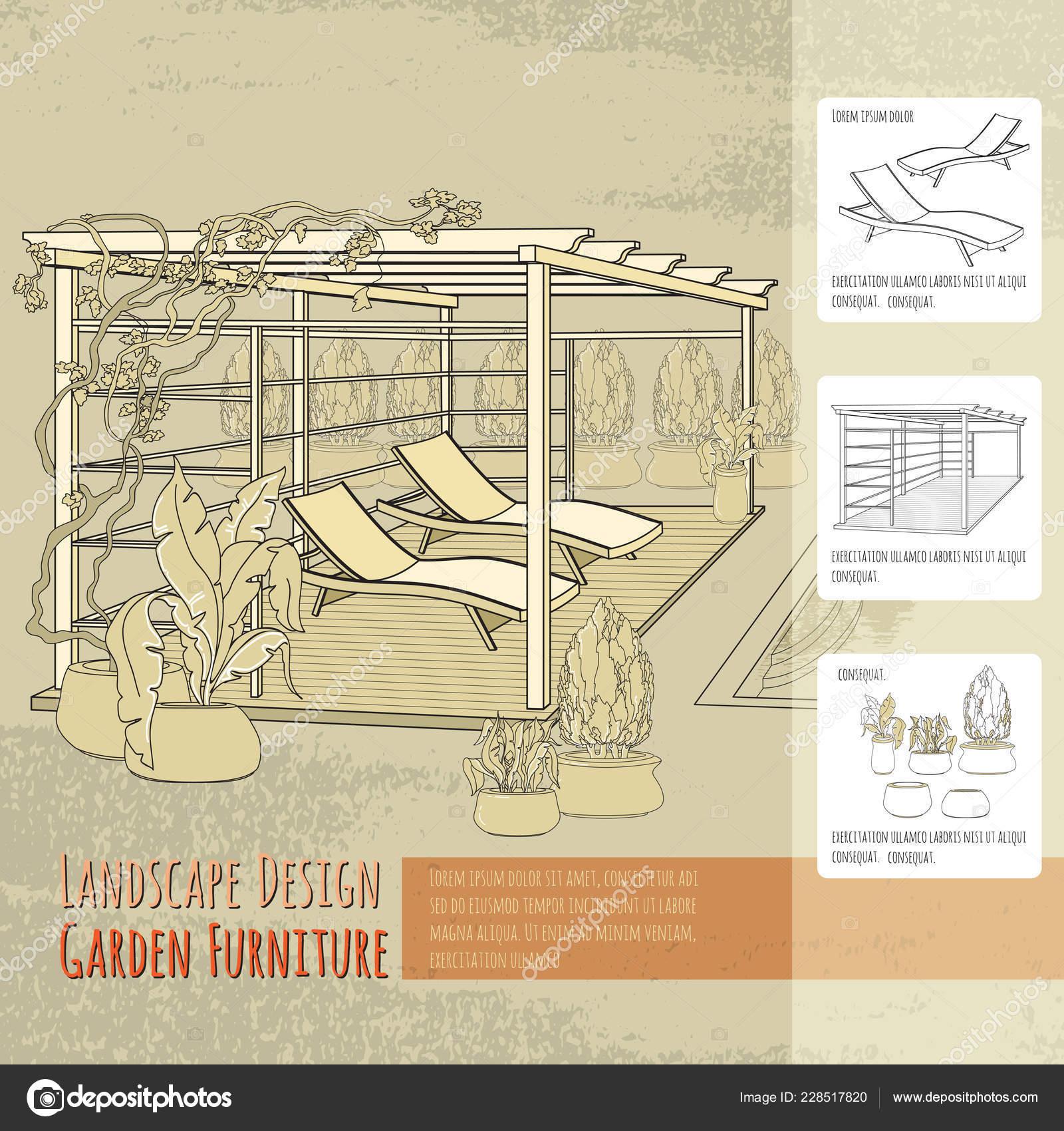 Admirable Vector Illustration Hand Drawn Lounge Chairs Patio Pergola Beatyapartments Chair Design Images Beatyapartmentscom
