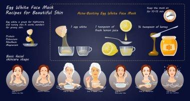 Egg White Mask Recipes for face skin. Vector illustration.