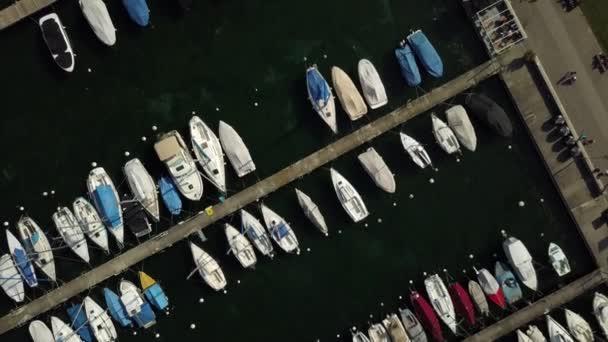 4 k záběry z Ženevské Panorama panorama s čluny, Švýcarsko