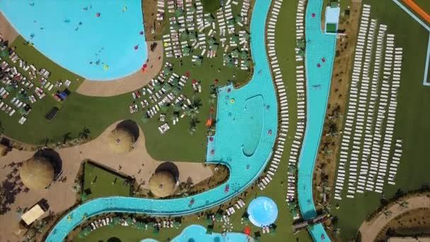 summer day biggest water park swimming pool aerial down panorama 4k minsk belarus