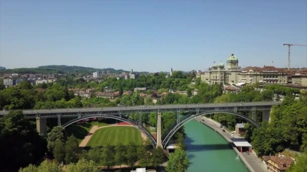 4k Footage of Bern cityscape panorama, Switzerland