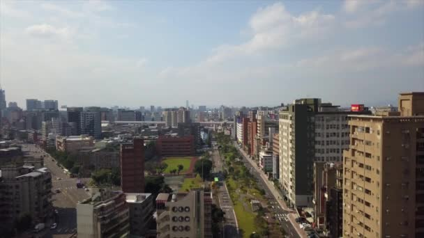 Day time Taipei traffic cityscape panorama. 4k footage china