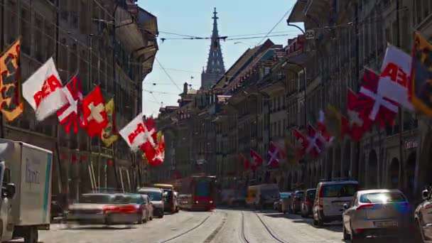 4k Footage of Bern cityscape traffic panorama, Switzerland