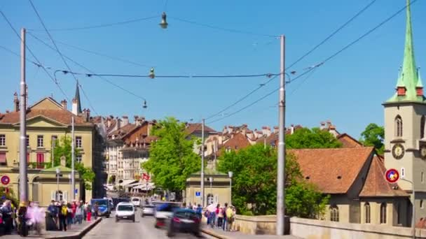 4k Footage of Bern cityscape traffic panorama, Switzerland
