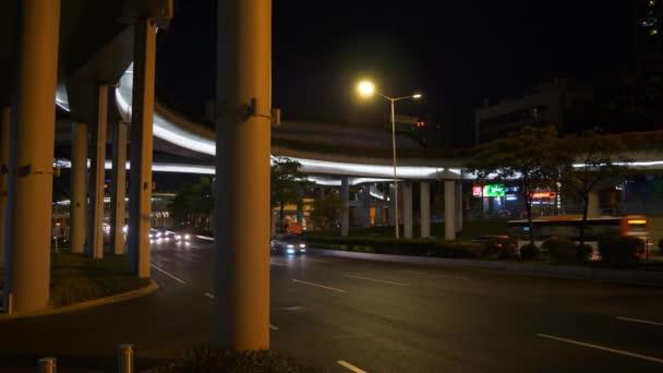 Guangzhou night cityscape traffic aerial panorama. 4k footage china