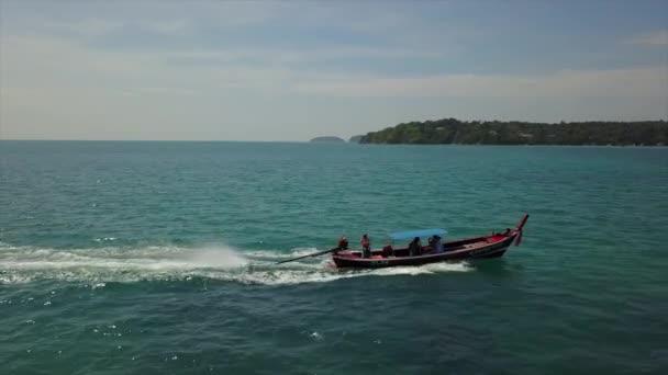 sunny day phuket island famous boat traffic rawai beach aerial panorama 4k thailand