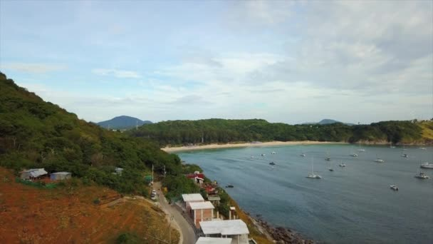 PHUKET, THAILAND - JANUARY 15 2018: island sunny day famous dock beach coastline aerial panorama 4k circa january 15 2018 phuket, thailand.