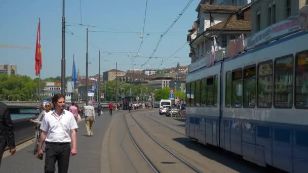 Day time zurich city center riverside traffic bay walking panorama 4k  switzerland