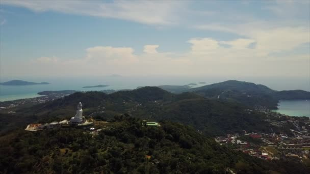 sunny day phuket island town rooftops aerial panorama 4k thailand