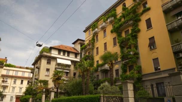 MILAN, ITALY - MAY 10 2018: city sunny day famous modern block buildings slow motion up view 4k circa may 10 2018 milan, italy.