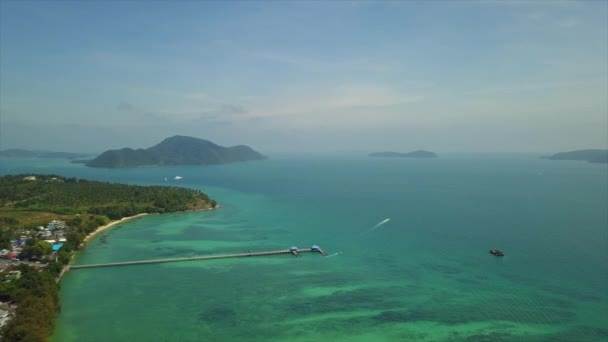 day time phuket island coastline famous cape aerial down view 4k thailand