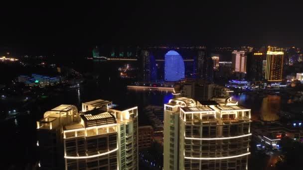 noční osvětlení sanya panoráma provoz pouliční letecké panorama 4k Čína
