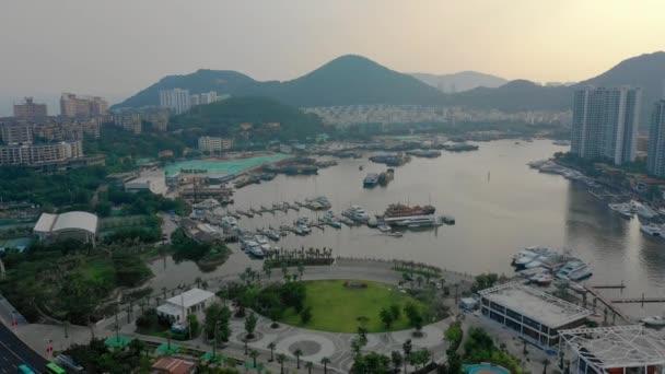 Čas západu slunce slavné sanya bay panoráma letecké panorama 4k timelapse Čína
