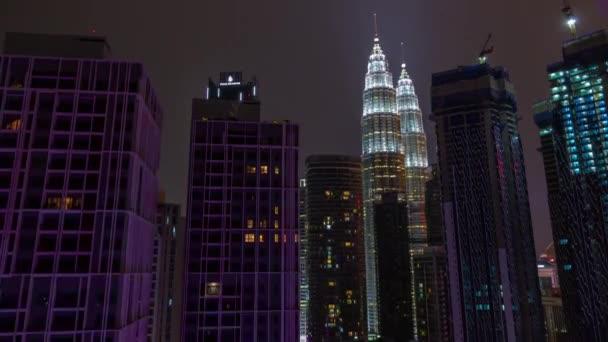 Noche Iluminada Terraza Centro De Centro De Ciudad De Kuala Lumpur Malasia De Timelapse Panorama 4k