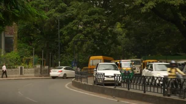 BANGALORE, INDIA - SEPTEMBER 17 2018: day time bangalore city center traffic street sidewalk panorama 4k circa september 17 2018 bangalore, india.