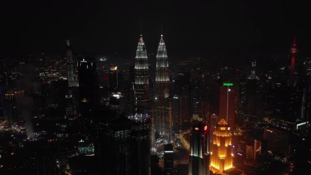 KUALA LUMPUR, MALAYSIA - SEPTEMBER 25 2018: night kuala lumpur downtown aerial panorama 4k circa september 25 2018 kuala lumpur, malaysia.r, malaysia.
