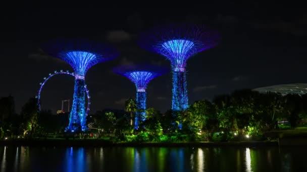 Night illumination at famous garden magic tree at Singapore city, 4k, time-lapse