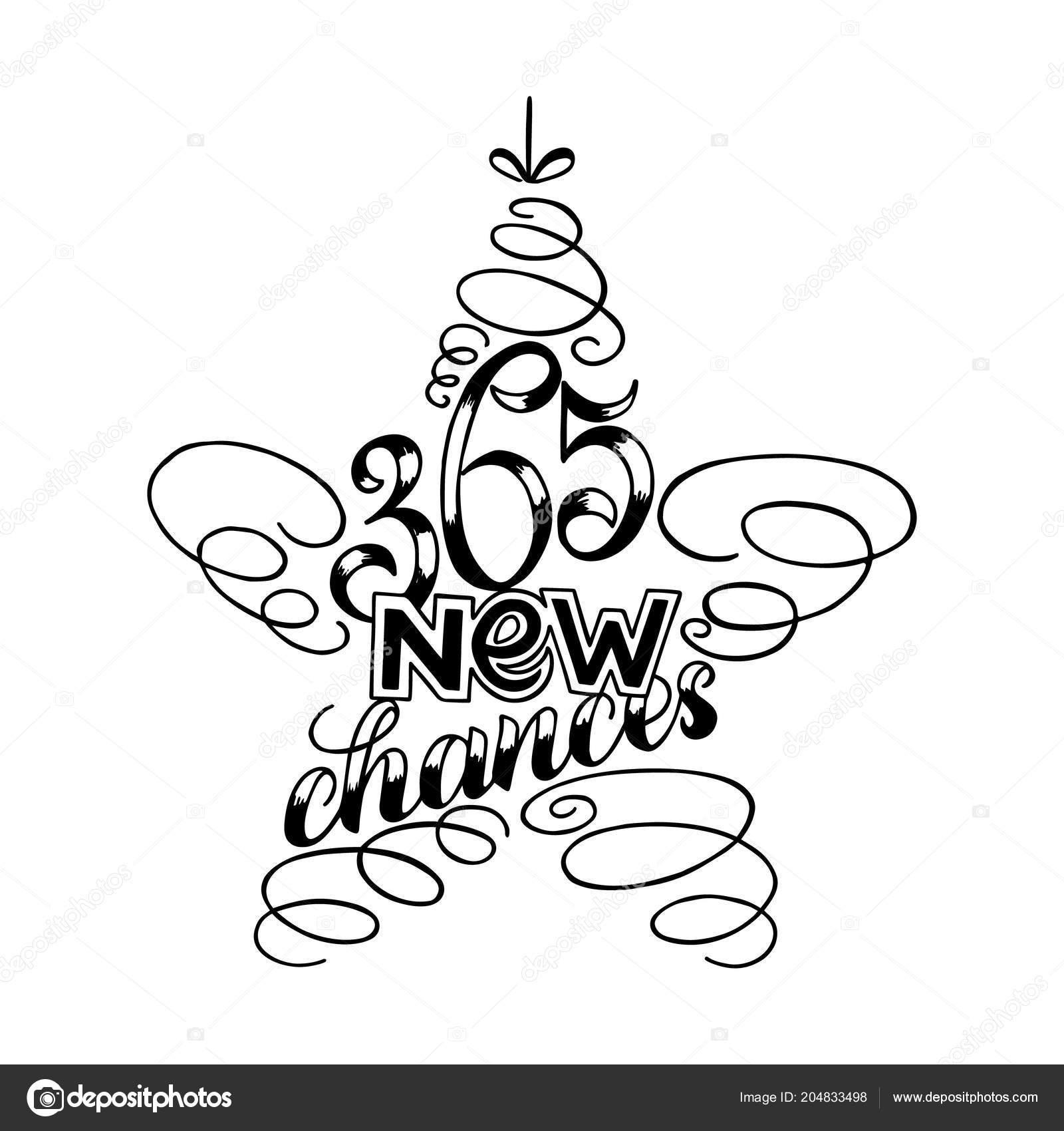 365 Yeni Yıl Yazı şeklinde Yıldız Ağaç Oyuncak Tebrik Kartı Tasarım