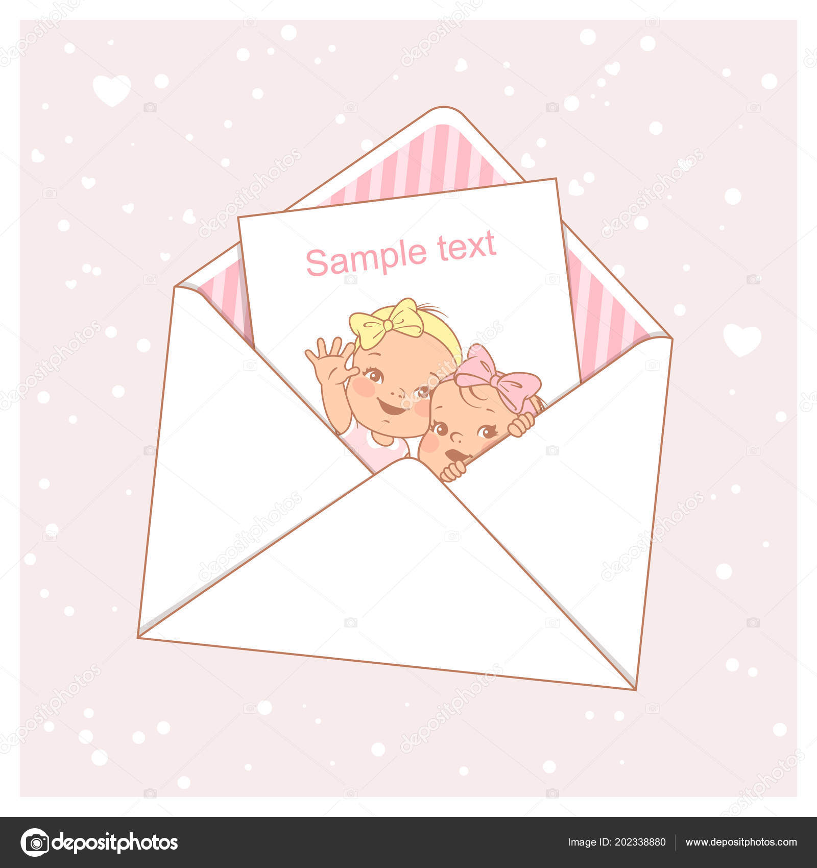 twin baby shower card cute little twins envelope two girls stock