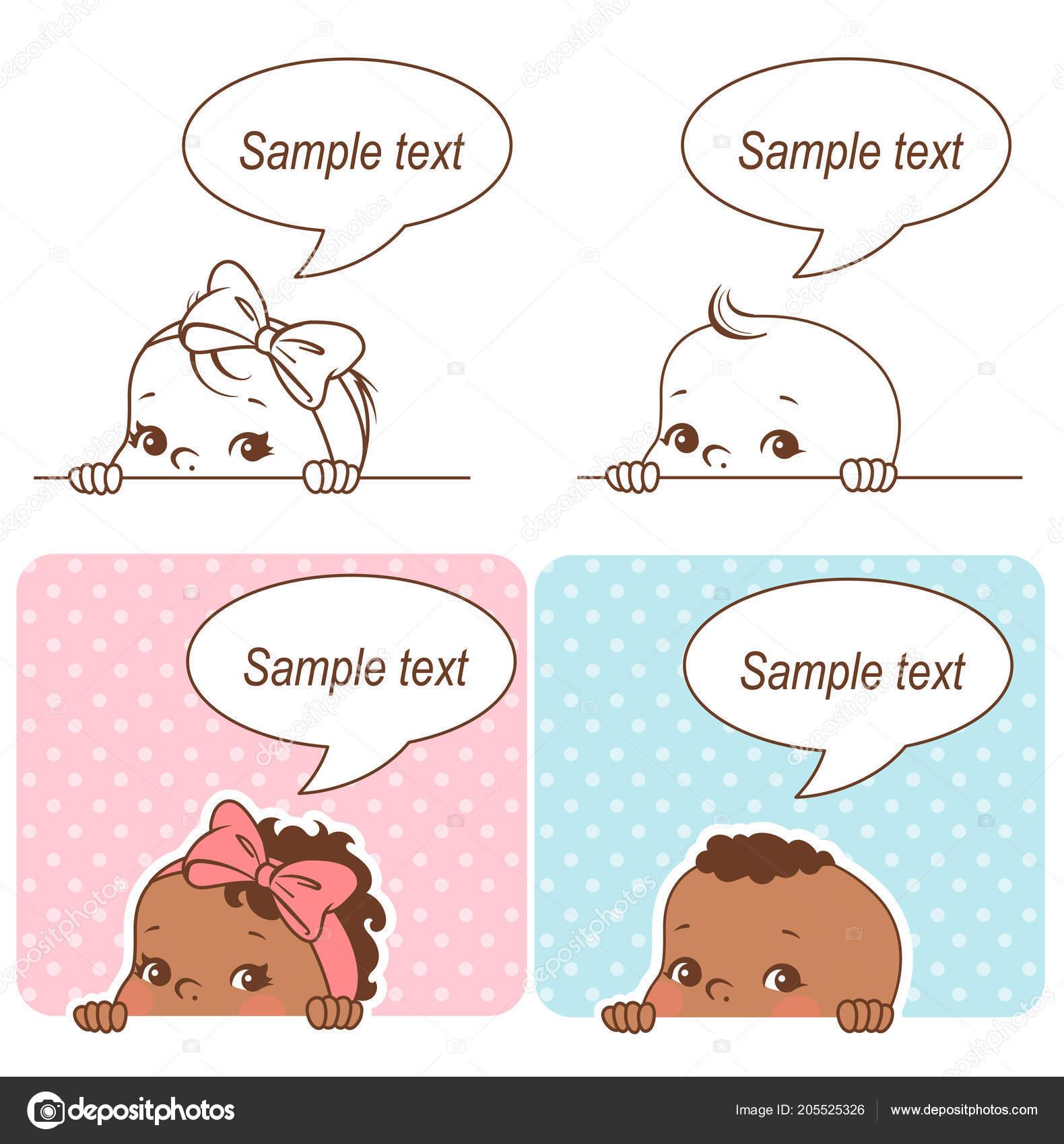 Baby Dusche Set Babymädchen Und Jungen Mit Leertext Blase