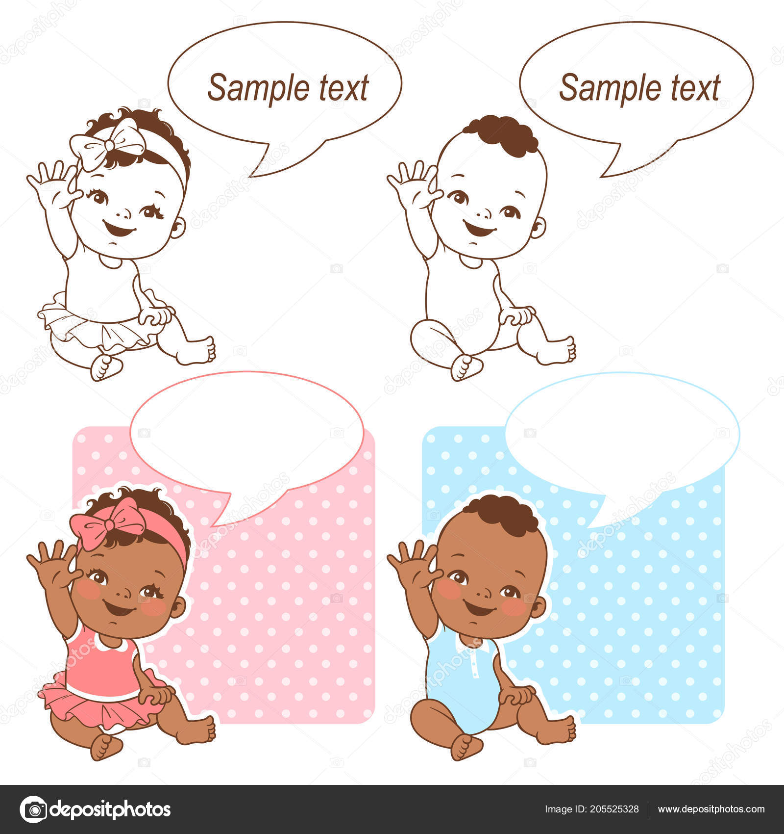 Baby Shower Set Baby Girl Baby Boy Blank Text Bubble Stock Vector