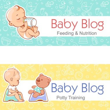 Banner for baby blog.Baby with bottle, on potty.