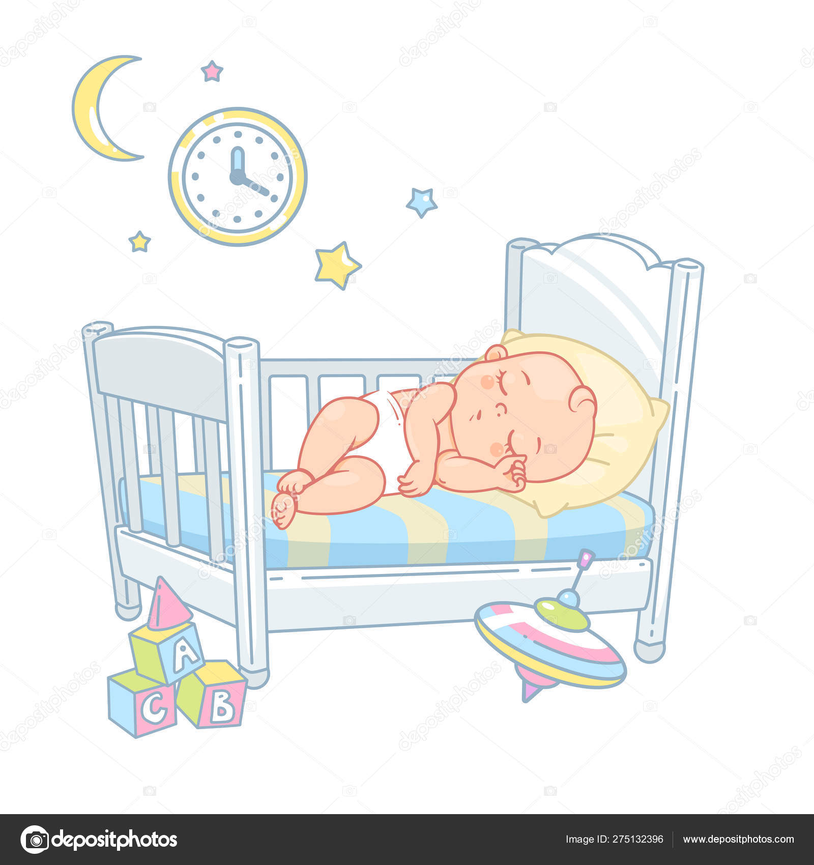 Cute Little Baby Sleep Bed Pretty Child Diaper Sleep Night Stock Vector Royalty Free Vector Image By C Natoushe 275132396
