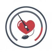 Szív, vérnyomás mérés. Vektor lapos kép fehér háttér.