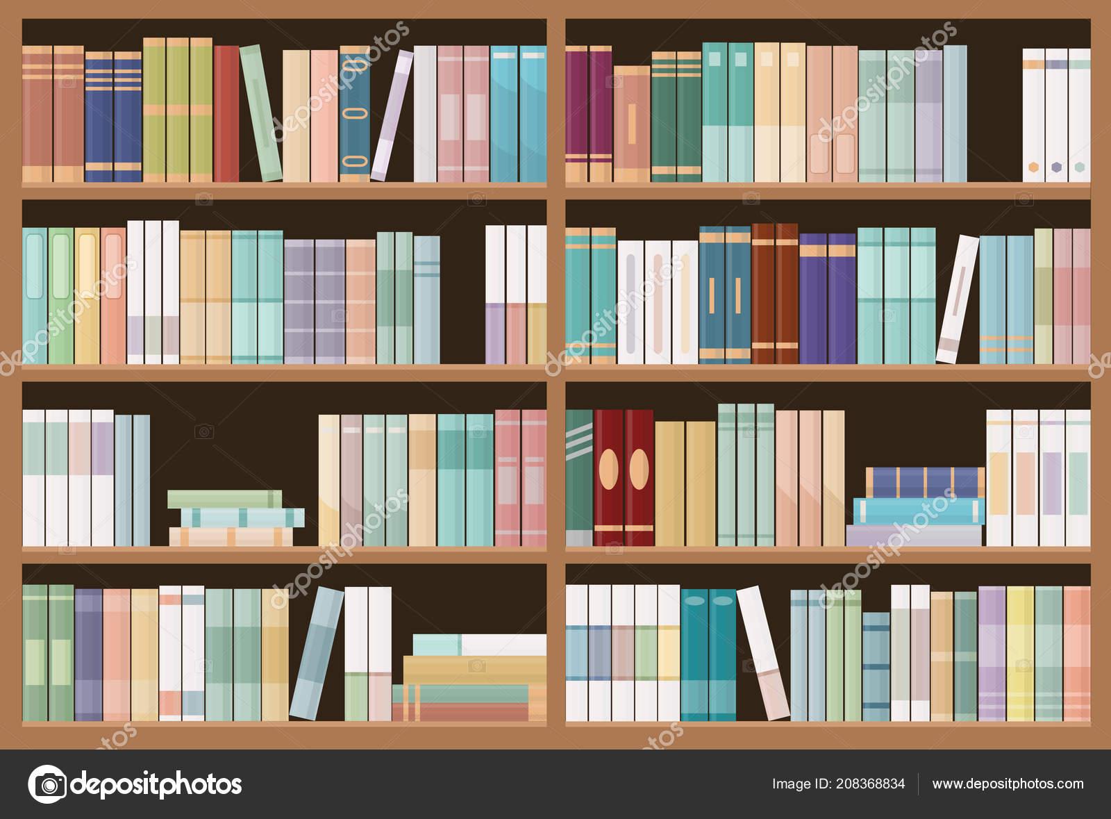 Bookshelves Full Books Education Library Bookstore Concept Seamless