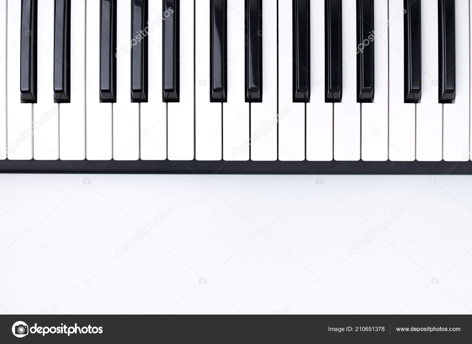Black White Piano Keys White Background Wooden Table Musical